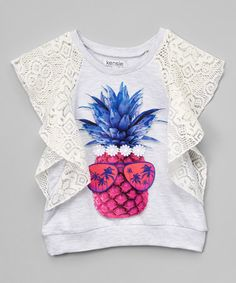 Another great find on #zulily! Heather Gray Lace Pineapple Flutter-Sleeve Tee - Toddler & Girls #zulilyfinds