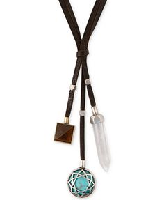 Lucky Brand Two-Tone Reconstituted Turquoise Bead Leather Pendant Necklace