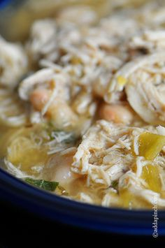White Chicken Chili Recipe from addapinch.com- take out chicken, the chicken stock & no cheese