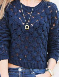 a trendy life look jersey Moda Crochet, Crochet Cardigan, Lace Knitting, Knitting Patterns, Handgestrickte Pullover, Diy Crafts Crochet, Crochet Headband Pattern, Lace Sweater, Hand Knitted Sweaters