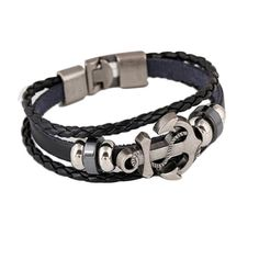 Men's Anchor Design Alloy Leather Bracelet Stocking Stuffers! We Appreciate all of the Re Tweets and Hope You all Have a Fruitful Holiday Season. Free Shipping throughout the store! #video #love #christmas #music