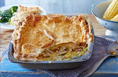 Classic comfort food - this hearty chicken and sweetcorn pie is an all-time British favourite. A little added bacon brings a delicious smokiness that's sure to satisfy the whole family.