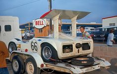 Having finished 2d in the 1967 Riverside Can-Am, the Chaparral 2G has been loaded on its trailer for the ride back to Midland. Author undetermined.