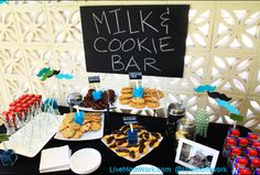 Little Man mustache and tie boy's first birthday party milk & cookies bar