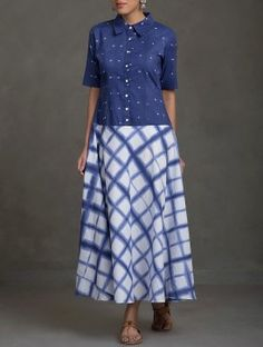 Indigo-White Collar Shibori Cotton Dress
