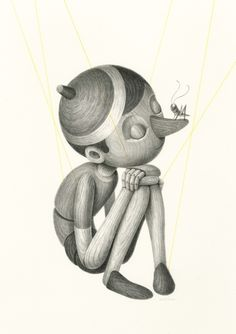 This character design of Pinocchio really drives the focus of the fact that he is made from wood. I've been researching what other people have done with Pinocchio to see which direction I'd rather go in. I like the texture the wood creates. Pinocchio, Art And Illustration, Illustrations Posters, Adventure Time Art, Walt Disney, Fairy Tales, Art Drawings, Sketches, Art Prints