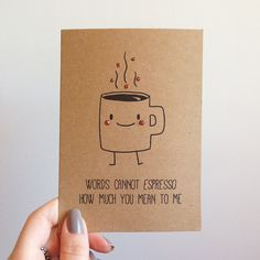 Espresso Coffee Pun Cute Love Valentines Card by SubstellarStudio, $4.50