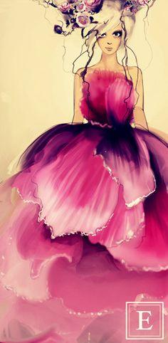 flower gown fashion illustration