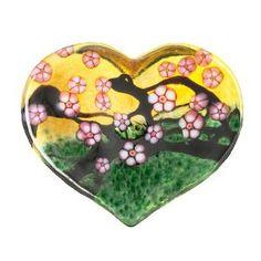 "Robert Held Art Glass - Paperweight, Cherry Blossom Large Heart Amber / Forest Green - 3 X 2.5"""