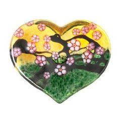 Robert Held Art Glass - Paperweight, Cherry Blossom Large Heart Amber / Forest Green - 3 X 2.5""