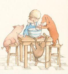 Baking with My Friends ~ Child Pig Monkey Dog ~ Helen Oxenbury