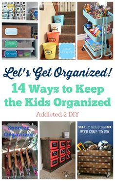Keeping kids organized is a challenge, but these 14 helpful tips and projects will keep those toys, art supplies, and everything else neat and tidy!