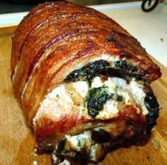 Stuffed with cream cheese, mushrooms, spinach, onion ... and wrapped in BACON!!!