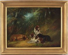 George Armfield Antique Oil Painting Animal Dog Wood Country Up To Group Of Dogs, Paint Strokes, Animal Paintings, The Help, Pet Dogs, Oil On Canvas, Terrier, Horses, Country