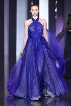 Ralph & Russo Fall 2014 Couture royal blue halter neck gown