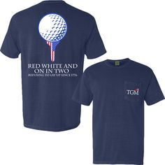 Red, White, and On in Two - Navy Pocket T-Shirt – Total Golf Move