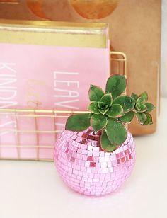 DIY Disco Ball Succulent Planters