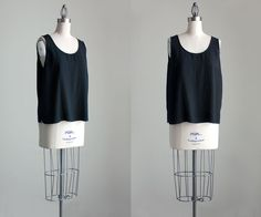 90s Vintage Silk Black Loose Fit Tank Top By Citron by decades, $44.00