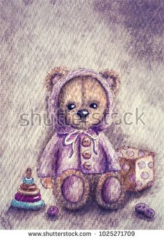 Watercolor illustration of a teddy bear
