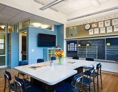 I like this simple design and the large table with a space for the teacher