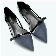 Zara Dark Blue And Black Flats
