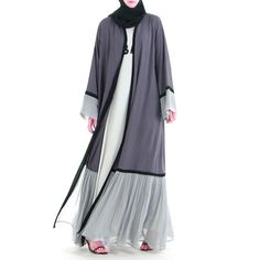 This abaya is unlike other of its kind. It is beautifully designed in pearl chiffon that gives you the elegant look you would love to maintain for long. Modern Abaya, Modern Hijab Fashion, Abaya Fashion, Muslim Fashion, Fashion Dresses, Black Abaya, Abaya Designs, Kimono, Stylish Dresses