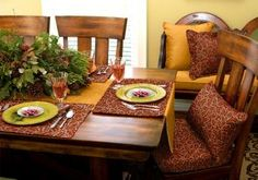 Animal prints for Thanksgiving. Unique custom reversible placemats and table runners for Thanksgiving dinner!