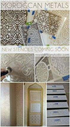 Amazing Moroccan stencils in new patterns from Royal Design Studio stencils by R. - Amazing Moroccan stencils in new patterns from Royal Design Studio stencils by RussandTam Wood Moroccan Theme, Moroccan Bedroom, Moroccan Interiors, Moroccan Design, Moroccan Style, Moroccan Arabic, Painted Furniture, Diy Furniture, Design Marocain