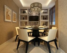Luxury Dining Room Design with Modern Pendant Light above Round Tables and White Leather Chairs Also Using Floor Tiles