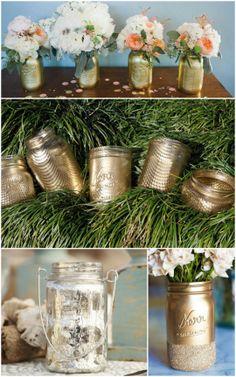 5 new ways to use mason jars: metallic masons (love that middle idea using fishnet stockings via Brit & Co) | ohlovelyday.com #masonjars