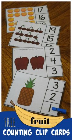 FREE Count to 20 Fruit Clip Cards are a fun way for preschool, prek, and kindergarten age children to practice counting with a fun, reusable, fruit theme. Clever idea for making it self checking for math centers. Counting To 20, Counting Activities, Preschool Activities, Preschool Centers, Summer Activities, Free Preschool, Kindergarten Worksheets, Worksheets For Kids, Kindergarten Flash Cards
