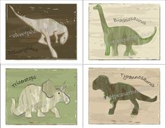Hey, I found this really awesome Etsy listing at http://www.etsy.com/listing/67548522/dinosaur-art-print-set-of-4-green-beige