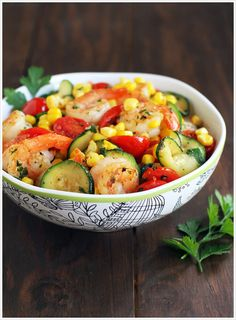 Summer Stir-Fry with Shrimp, Zucchini, Tomatoes, and Roasted Corn from Pioneer Woman