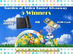 FIVE winners will win a NEWLY RELEASED Amazon Fire TV or $100 CASH!!!  Enter here: gardenofarden1.blogspot.com