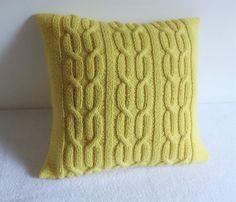 Câble de citron tricoté taie doreiller 16 x 16 par Adorablewares