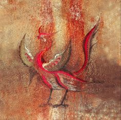 Red Bird ( Suzaku )  Murals (Color). Goguryo-time (before 668), probably the 7th century .; Kanso Middle Tomb, North Korea  Source: June's Memo ., Blog (Last Accessed: 2014/1) The Red Bird of the South (jap. Suzaku). Mural from inside a hill tomb of the Korean kingdom of Goguryeo.