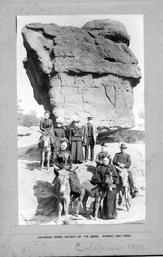 Ladies in front of Balance Rock in 1880.