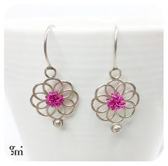 Ethnic Earrings, Pink Earrings, Silver Earrings, Pink Silver Earrings, Flower Earrings, Pink Flower Earrings, Gift for Her, Bridal Earrings - pinned by pin4etsy.com