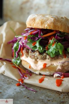 Grilled Asian Pork Burger with asian slaw, spicy pickled red onions and siracha cream. We ditched the bun and made mini burger patties with slaw & onions on the side. Patties - add two chilies, 1 tbsp of ginger (not tsp), extra 1/4 tsp sesame oil.