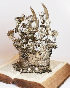 Incredible Intricate White Metal Crown Early 1900s-