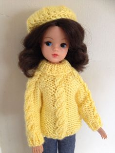 Hand knitted jumper and hat for Sindy
