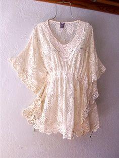 Vintage Lace Blouses   New Ivory Vintage Crochet Lace Peasant Blouse Kimono Boho Top 8 10 M ...