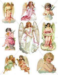 SVG Angels, Digital Clipart Images, Angel Graphics, Printable Clipart, Victorian Pics, PDF and JPG Formats by TuiTrading, $3.50 USD