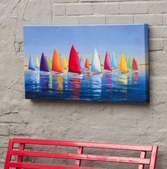 Beach Decor Artwork ::  sailboats