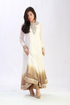 White/Beige Crinkle Chiffon Dress by PakRobe.com