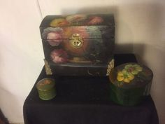 """Boxes(3) Toll painted. 1 Large 2 Small 10""""WX8""""D8""""H.C12pix4size/Detail.MAKE OFFER"""