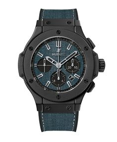 Hublot's Big Bang Jeans Ceramic has a 41-mm black ceramic case and a dial made of blue jeans denim The strap is composed of bonded denim and black rubber.