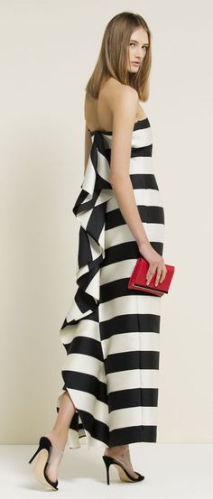 Carolina Herrera 2015. Black and white stripe maxi dress. Full length for a special occasion.