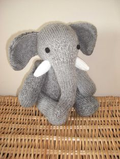 Malcolm the hand knitted jointed elephant light by scunjeebabe on Etsy £25.00