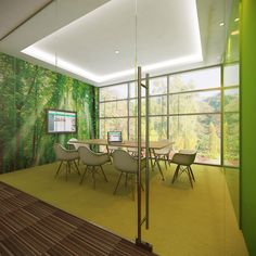 Forest Meeting Room suitable for 8 people. With green colored carpet to…